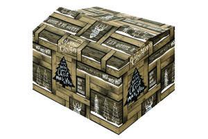 Kerstdoos Fence bedrukt als houten krat met houtmotief en voorzien van kerstteksten en symbolen