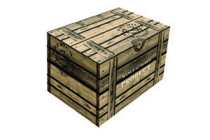 Kerstdoos Present bedrukt als houten krat met houtmotief