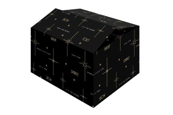 De Bright Black kerstdoos is een zwarte kerstdoos met wit bedrukte mooie wensen.