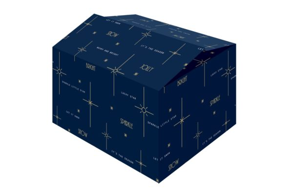 De Bright Blue kerstdoos is een blauwe kerstdoos met goudkleurig bedrukte mooie wensen.