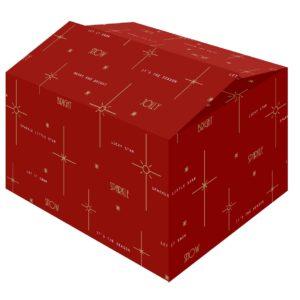 De Bright Red kerstdoos is een rode kerstdoos met goudkleurig bedrukte mooie wensen.
