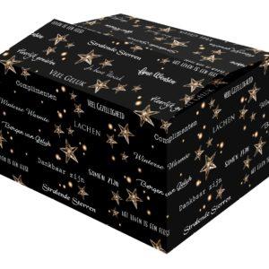 De Stars kerstdoos is een doos met all-over zwarte bedrukking en mooie Nederlandse teksten.