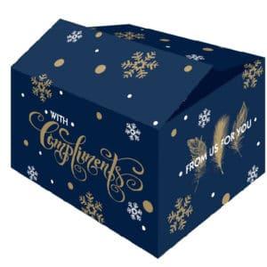 """De """"For You"""" kerstdoos is een golfkartonnen kerstdoos met all-over blauwe bedrukking en mooie wensen."""