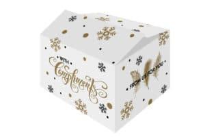 """De """"For You"""" kerstdoos is een golfkartonnen kerstdoos met all-over witte bedrukking en mooie wensen."""